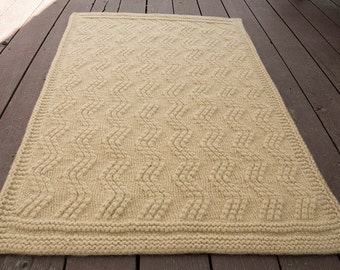 Tan ZigZag Hand Knit and Felted Wool Area Rug