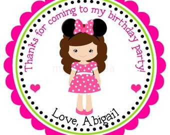 Personalized Minnie Mouse Girl Stickers,Gift Tags, Party Favors, Address Labels, Birthday Stickers  - Set of 12