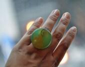 Resin Ring Size 7 Sea Foam Green Steampunk