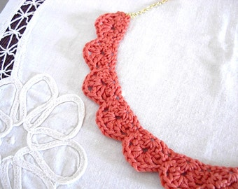 Lace Crochet Necklace - Coral Pink