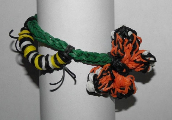 Monarch Butterfly And Caterpillar Rainbow Loom Bracelet By