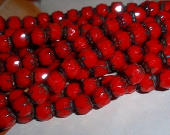 Czech Red Opaque, Antique Style 6mm, Fluted Beads WHOLESALE PRICE