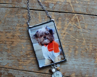 In Loving Memory Dog Photo Ornament with personalized mother of pearl charm