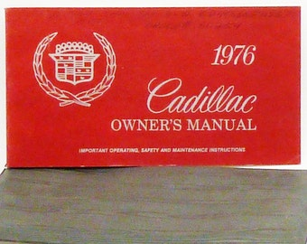 Cadillac 1976 Vintage car manual original owners red GM motor division black with pouch instructions collectors rare old General Motors