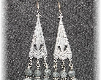 Elegant Chandelier Earrings Sterling Silver, Dove & Charcoal Grey Gemstones 814Chand69