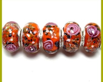 Silver Lampwork Glass Beads - Fall / Winter color Combo  Cherry Carnation Hot Pink, fits All European Style Add a Bead Jewelry Gpnd-014