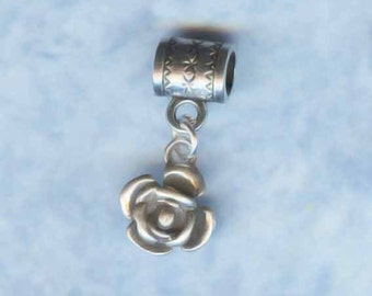 Sterling Silver Rose Bloom Lrg Hole Bead Fits All European Styles of  Add a Bead Charm Bracelet Jewelry AAB-8305