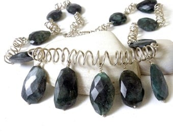 Emerald and Sterling Silver Coil Necklace