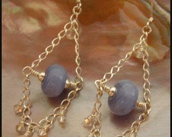 Breeze - Artisan Lampwork and Crystal Trapeze Earrings