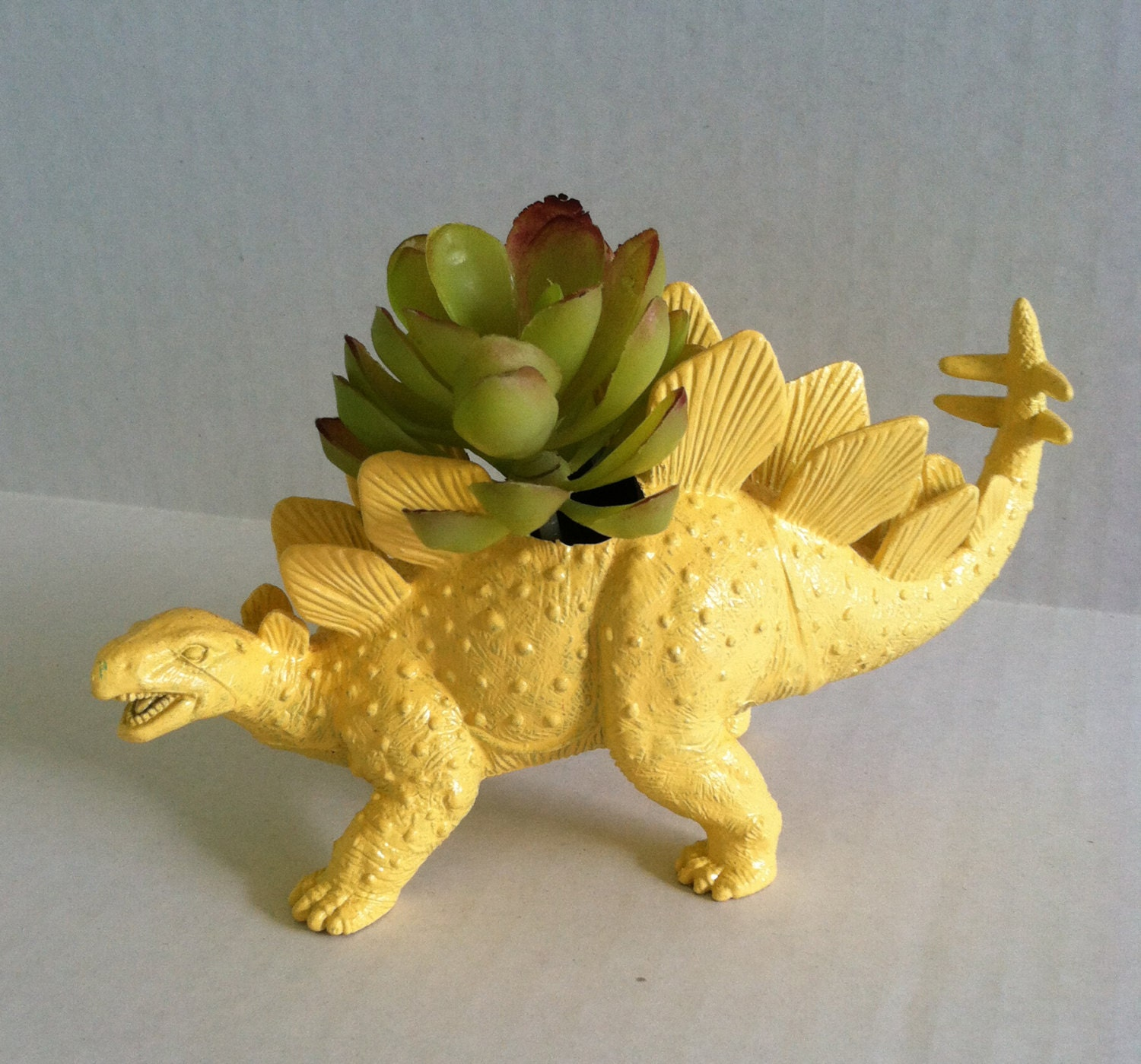 Yellow Dinosaur Planter Ready To Plant And Display At Work Or