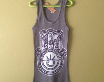 Hamsa Batik yoga Eco friendly ribbed Tank women  gray - yoga clothes - size XS, S, M, L, XL, XXL