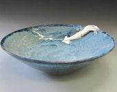 Large Elegant Squid Serving Bowl Handmade Stoneware and Porcelain
