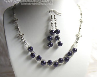 Swarovski Crystal Necklace And Earrings, Dark Purple Swarovski Glass Pearl Set By CandyBead