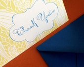Thank you- in blue, set of 6