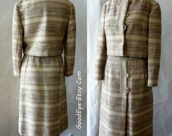 Vintage BILL BLASS Dress Womens Suit / size 4 6 8 small / Cropped Bolero JACKET Aline Skirt /  Silk Linen Tan Ivory 1980s Designer