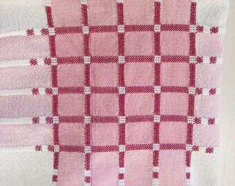 Vintage Tablecloth Pink Plaid Cotton Niagara Textile Co. Kitchen Cottage Linens 40 x 42