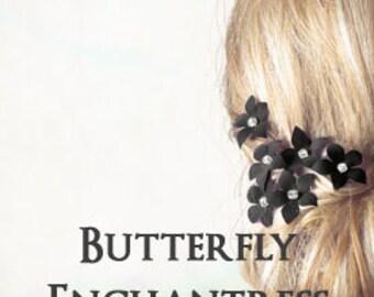 Bridal Hair Flowers, Wedding Accessories, Bridesmaid Gift - 6 Black Harper Jasmine Hair Flower Pins - Rhinestone Centers