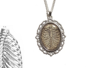 Rib cage necklace Anatomical skeleton pendant - cameo zombie horror goth gothic victorian spooky Halloween ribcage silver