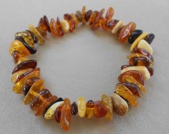 Multi-color Baltic Amber Nugget Bracelet