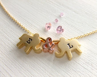 Custom Elephants Jewelry Necklace, Gold Elephants, Rose Gold Ampersand, Personalized Letters, Gift for Her, Girlfriend, Wife, Birthday Gift