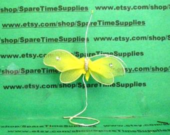 "Nylon Butterfly - 2 1/4"" - yellow - 2 pcs - Fibre Craft - #7988YEL"