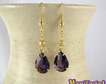 Purple Crystal Earring gold tone Cosplay