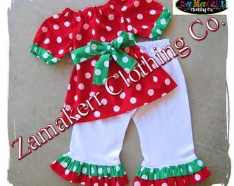 Girl Christmas Outfit - Baby Girl Christmas Clothes Pant Set - Santa Outfit Clothing 3 6 9 12 18 24 month size 2T 2 3T 3 4T 4 5T 5 6 7 8