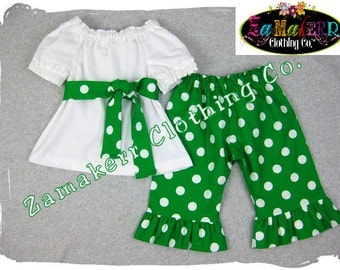 St. Patrick's Day Girl Outfit Pant Set Green White Ruffle Pant Top Baby Toddler Infant Clothes 3 6 9 12 18 24 month size 2T 3T 4T 5 6 7 8