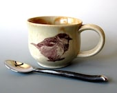 Ceramic Mug - Chubby Sparrow - 11 oz  - Hand Thrown Stoneware