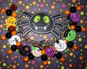 Halloween Bracelet, Halloween Jewelry, Halloween Charm Bracelet, Bat, Witch, Skull, Frankenstein, Ghost, Vampire, Cat, Spooky Cute Accessory
