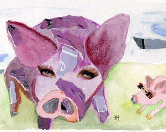 painting + collage / The pig and her son // original painting  wall art  Schwein + Ferkel