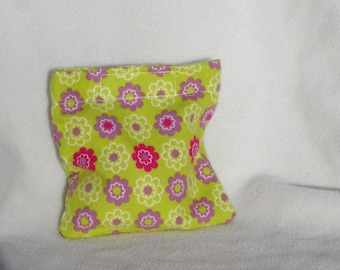 Boo boo pack- hot/cold therapy rice bag- removable cover-Green with pink and purple flowers