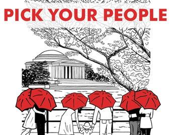 DC Love- Jefferson 8x10 print- Pick your couple and umbrella color!