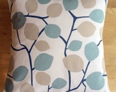 """16"""" x 16"""" cushion cover - duck egg blue and taupe leaves"""
