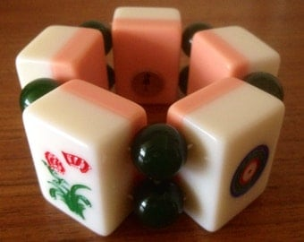 REDUCED! Super chunky mahjong/ mah jong tile bracelet / strawberries and cream
