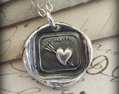 Love Hurts heart Wax Seal Necklace - Italian love motto wax seal jewelry in recycled fine silver Love Jewelry