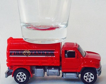 the ORIGINAL Hot Shots Shot Glass, Red, Fire Tanker, Fire Truck, Matchbox Vehicle