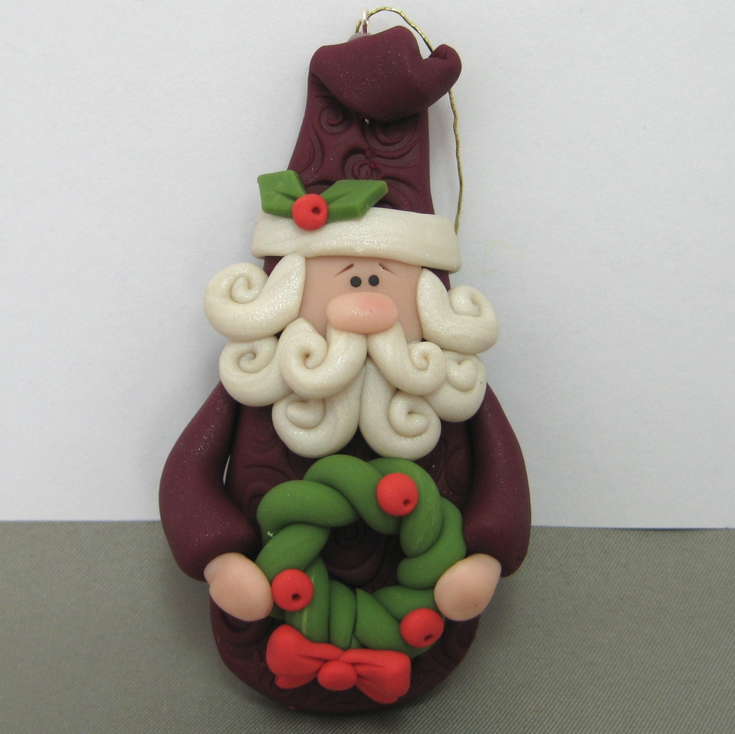Polymer Clay Christmas Ornament: Old World Santa Polymer Clay Christmas Ornament Handmade
