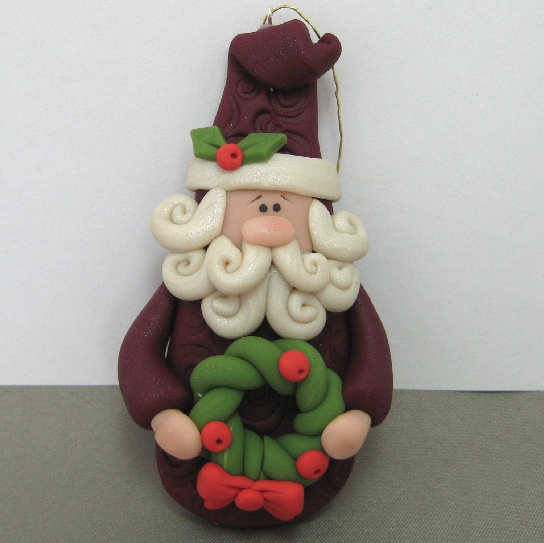 Old world santa polymer clay christmas ornament handmade