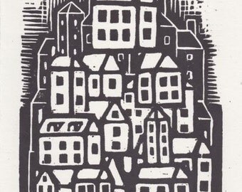 urban village woodblock print