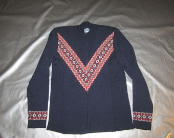 Austrian Ski Sweater - Women's Size SMALL- Navy Wool - Vintage 1970's - Kindt and Huessler