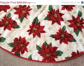 CIJ SALE Beautiful Bold Red Poinsettia Christmas Tree Skirt, Christmas, Cream, Red, Floral Tree skirt, Gold