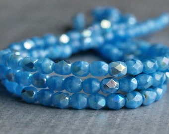 Cornflower Blue AB Czech Glass Bead Faceted 4mm Round : 50 pc Strand