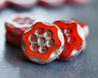 Czech Glass Picasso Flame 13mm Daisy Flower Flat Beads : 6 pc