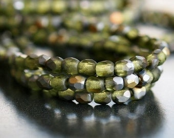 Dark Peridot Matte Gold 3mm Czech Glass Bead Round :50 pc