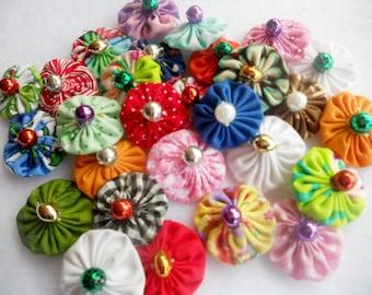 Bead Flowers Fabric Flowers 36 YoYo Headband Wedding Rosette Hair Clip Bow Bobby Pin Scrapbook Wholesale Handmade