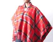 ViNtAgE 70's Hooded Plaid FRingE Southwestern Blanket Shawl Poncho Cape