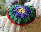 Multi-colored crocheted lacestone