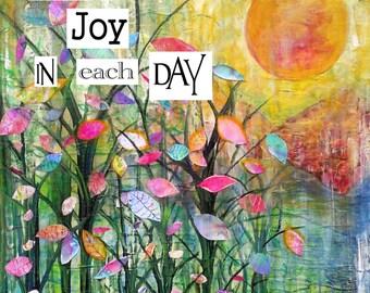 Find the Joy  flowers art print archival print trees art print  art print garden painting tree art print flowers art print