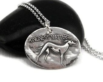 Greyhound Necklace - Greyhound Jewelry - Greyhound - Hound Parade Kindness Matters - Fine Silver - Sterling Silver  - Butterfly